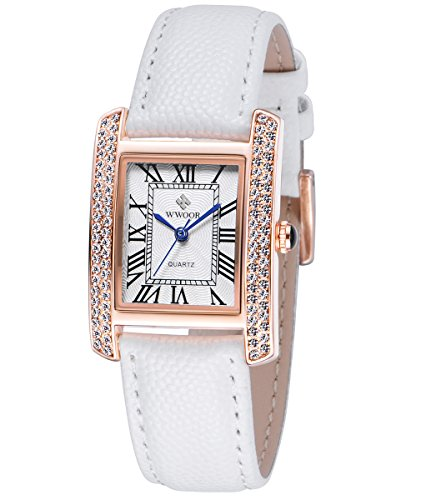 (Ladies Rectangle Two Tone Quartz Dress Watches for Women Leather Band Roman Numeral Watch with Rhinestone (White))