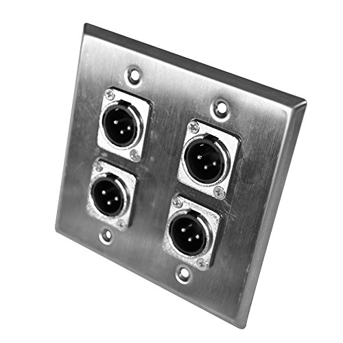 TE31 Stainless Steel Wall Plate 2 Gang with 4 XLR Male Connectors for Cable Installation ()
