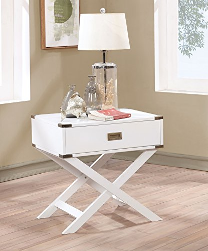 HOMES Inside Out IDF-AC801WH Tanadra Contemporary Side Table White