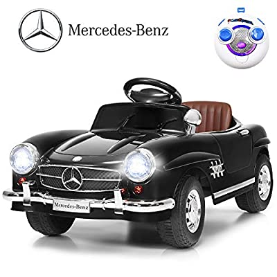WATERJOY Kids Ride on Car, Mercedes Benz 300SL Children Electric Ride-on Car,Kids Remote Control Toy Car, Battery Motorized Vehicles Cars with LED Lights,Horn, Music Player, Safe Seat Belts Black: Toys & Games