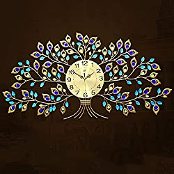 32 Inches Large-size Creative Tree Wall Clock for Living Room Large Luxury Crystal Clock for New Home Decor European Style Mute Quartz Clock Hanging on Wall Gold Color