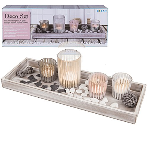 40CM WOODEN DECORATION TRAY HOME GIFT CANDLE STAND + 4 GLASS TEALIGHT HOLDERS OOTB