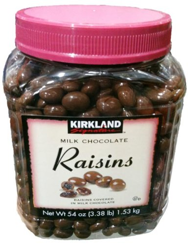 (Kirkland Signature Milk Chocolate RAISINS 3.38 LBS (54 Oz) JAR )