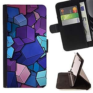 For Motorola Moto E ( 1st Generation ),S-type Cubos diseño minimalista - Dibujo PU billetera de cuero Funda Case Caso de la piel de la bolsa protectora