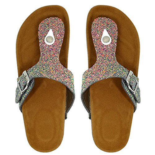 multicolored Summer Open Yiuoer Flop Gladiator for Toe Women Strap Buckle T Glitter Beach Flip Flat Royou Sandals Thong waqxOdZO0
