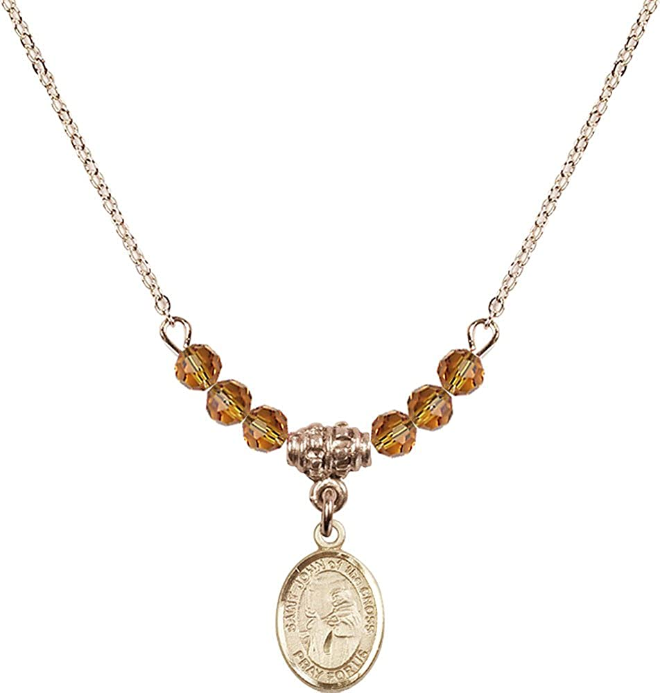18-Inch Hamilton Gold Plated Necklace with 4mm Topaz Birthstone Beads and Gold Filled Saint John of the Cross Charm.