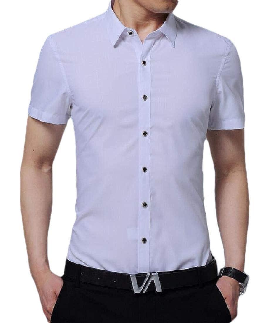 HTOOHTOOH Men Fashion Short Sleeve Button Down Shirts Dress Shirt Casual Slim Fit Shirt