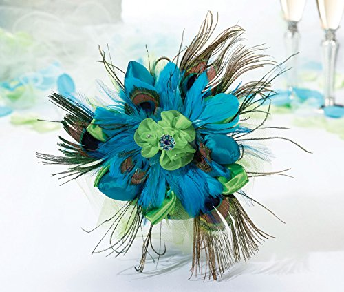Lillian Rose Aqua Peacock Feather Wedding Bouquet - Peacock Feather Bouquet