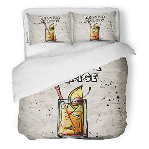 Semtomn Decor Duvet Cover Set King Size Orange Coctail of Cocktail Tequila Sunrise Collection Glass Soda 3 Piece Brushed Microfiber Fabric Print Bedding Set Cover ()