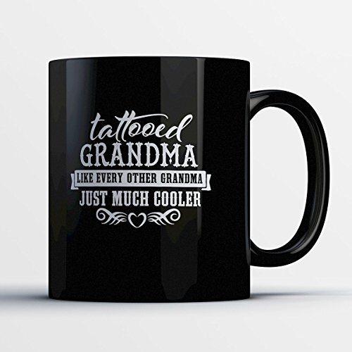 Tattooed Grandma - Adorable 11 oz Black Ceramic Tea Cup - Cute Grandmother Gifts with Grandma Sayings (Custom Boxing Photo Charm)