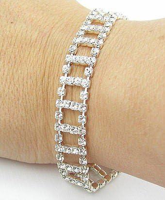 Amazon.com: LJ Designs Crystal Ladder Diamante Bracelet - Gold ...