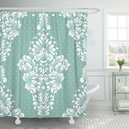 SPXUBZ Antique Damask Classical Luxury Old Fashioned Royal Victorian for Exquisite Floral Baroque Botany Carpet Shower Curtain Waterproof Bathroom Decor Polyester Fabric Curtain Sets with Hooks