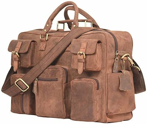 LEADERACHI Genuine Leather Handmade Messenger Briefcase Bag