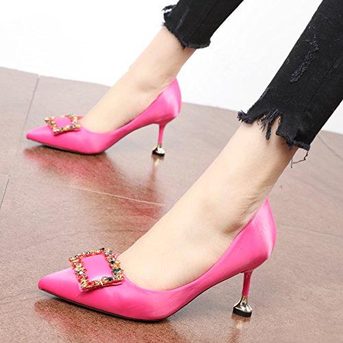 parte A antiguo moda shoesshallowly talón y Primavera otoño FLYRCX personalidad elegante zapatos temperamentsilksatinsatin partyhigh superficialmente y de de la PwyUXqgq