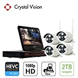 [4CH] Crystal Vision CVT804A-20WB All-in-One 1080P Full HD Wireless Surveillance System NVR CCTV w/ 2TB HDD, Built-in Monitor & Router, 2MP Camera Auto Pair
