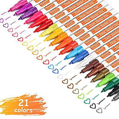 iBayam Paint Marker Pens, Oil-Based, Extra Fine Point, 21 Colors, Odorless, Expert of Rock, Wood, Glass, Metal and Ceramic Painting, Easter Egg, Xylene Free, Professional Paint Marker
