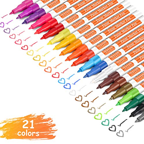 iBayam Paint Marker Pens, Oil-Based, Extra Fine Point, 21 Colors, Odorless, Expert of Rock, Wood, Glass, Metal and Ceramic Painting, Easter Egg, Xylene Free, Professional Paint - Point Paint Marker