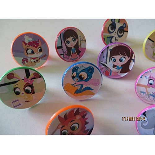 12 Littlest Pet Shop Rings cupcake toppers - birthday party favor pinata tv (Littlest Pet Shop Cake)