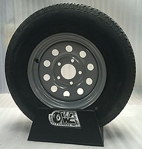 """Wheels Express Inc 13"""" Silver Mod Trailer Wheel with Radial St175/80R13 Tire Mounted (5x4.5) Bolt Circle"""