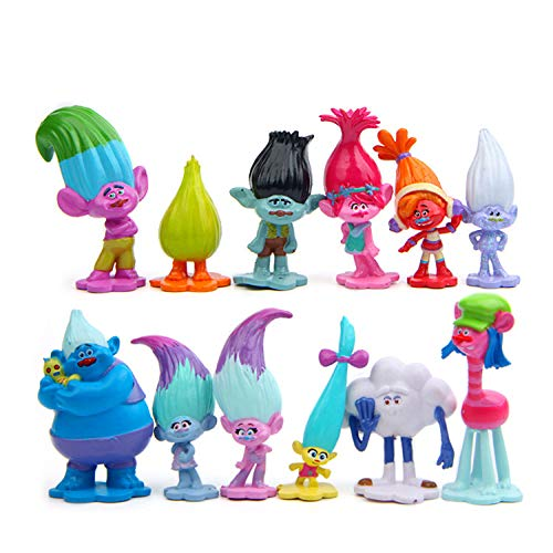 Vndaxau Troll Dolls Cake Toppers Toys Trolls Figurines Poppy and Branch 12pcs Set