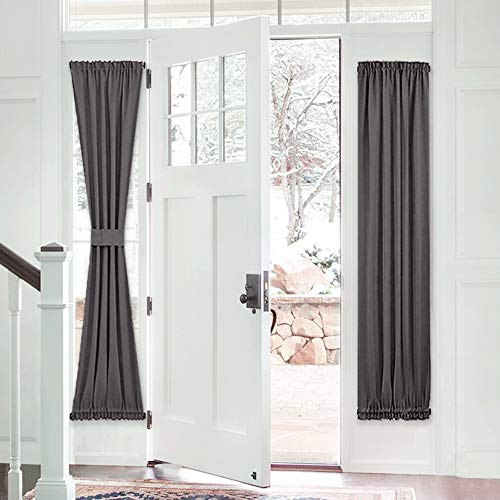 PONY DANCE French Door Curtain - Grey Blackout Drape Energy Saving Thermal Insulated Window Drapery/Front Door Panel Including Bonus Adjustable Tieback, 25 by 72 inch, 1 PC (Door Windows Curtains Small For)