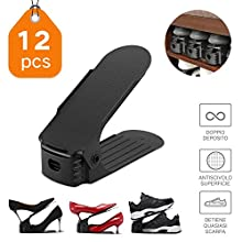 RSV Adjustable Shoe Organizer, 3-Level Height Durable Shoe Slots Organizer, Double Shoe Racks Holder Savor, Shoe Storage for Home (12 PCS)
