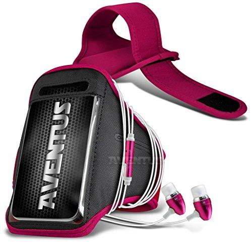 Aventus Vodafone Smart Ultra 7 Hulle (Hot Pink) Voll einstellbare Leicht Hulle Armband für Rennen, Gehen, Radfahren, Fitnessraum und andere Sportarten wie In-Ear-Ohrhörer Aluminium Hot Pink