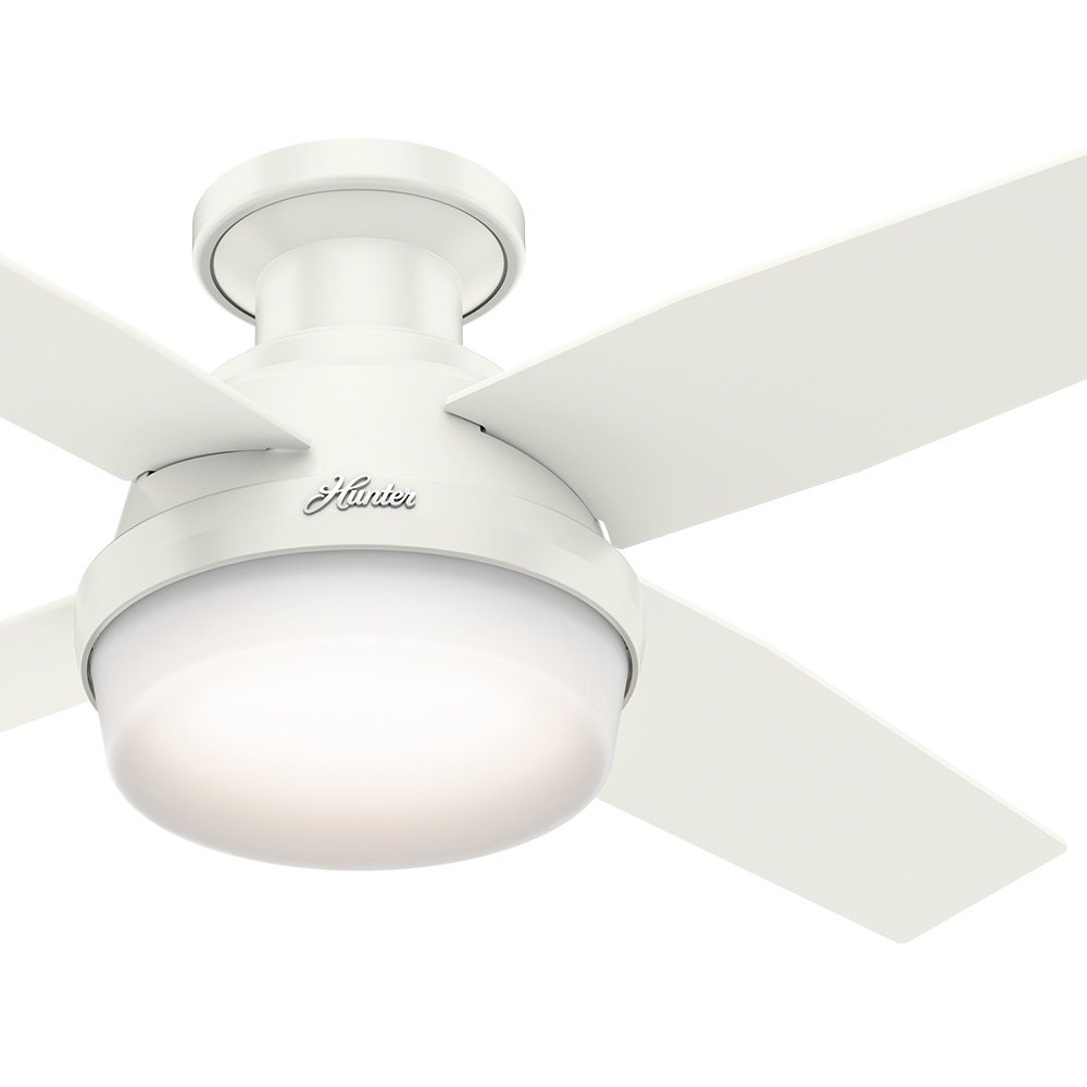 Hunter Fan 44'' Contemporary Low Profile Ceiling Fan in Fresh White with LED Light Kit and Remote Control (Certified Refurbished)