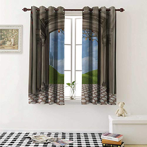 shenglv Country Decor Curtains by Classic Architectural Entrance Illustration with Backdrop of Countryside Landscape Curtains Girls Bedroom W63 x L63 Inch Blue Green