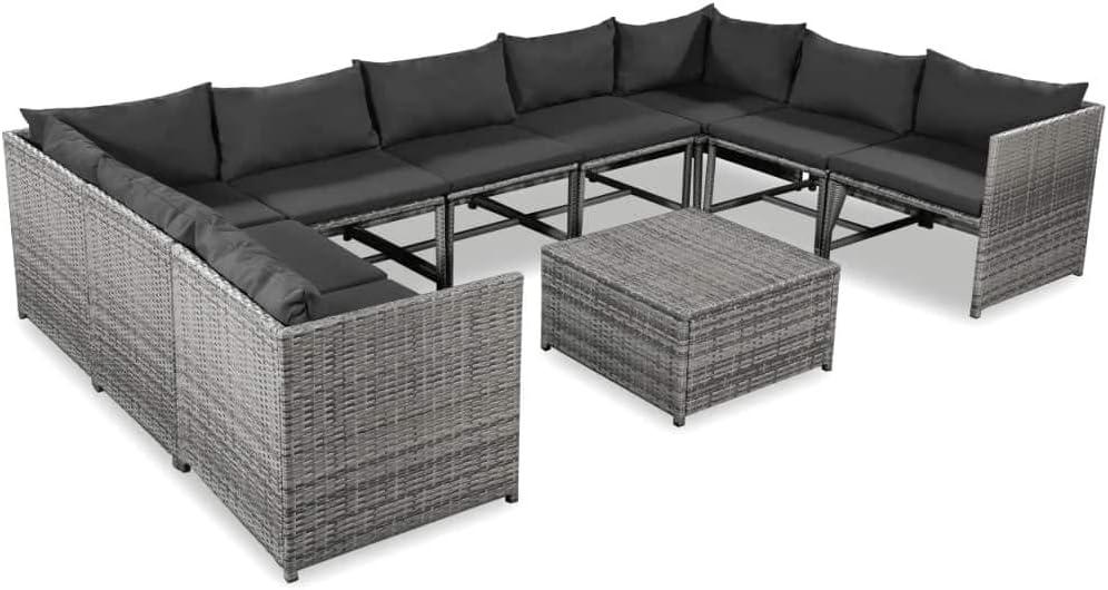 Namotu vidaXL 10-TLG. Garten-Lounge-Set mit Auflagen Poly Rattan Grau