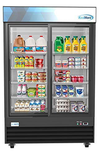 Koolmore 53' Commercial Glass 2 Door Display Refrigerator Merchandiser - Upright Beverage Cooler with LED Lighting - 45 Cu. Ft.