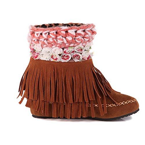 AllhqFashion Mujeres Caña Baja Colores Surtidos Puntera Redonda Cuña Botas con Borlas camello