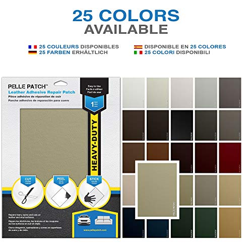 Pelle Patch - Leather & Vinyl Adhesive Repair Patch - 25 Colors Available - Heavy-Duty 11x16 - Beige
