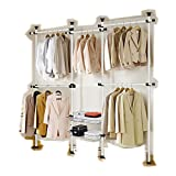 Portable Indoor Garment Rack Tools-free DIY Coat Hanger Clothes Wardrobe 4 Poles 5 Bars 2 Baskets. Heavy Duty Steel Poles and Bars. 60kg Loading per Bar. Space Fit and Saver.[3205WB2]