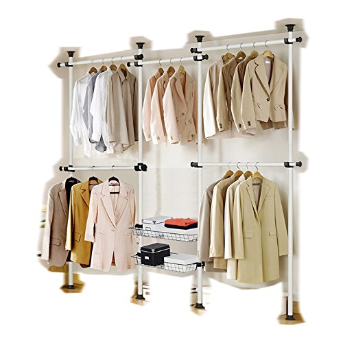 Portable Indoor Garment Rack Tools-free DIY Coat Hanger Clothes Wardrobe 4 Poles 5 Bars 2 Baskets. Heavy Duty Steel Poles and Bars. 60kg Loading per Bar. Space Fit and Saver.[3205WB2] by GoldCart