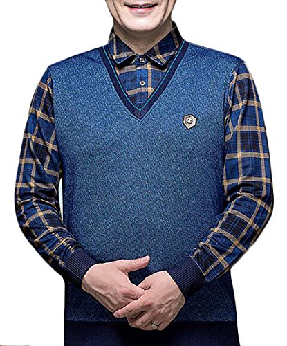 Collar Men's Piece Two UK today Fake Sweater Blue Shirt Pullover Autumn 0pBBqA