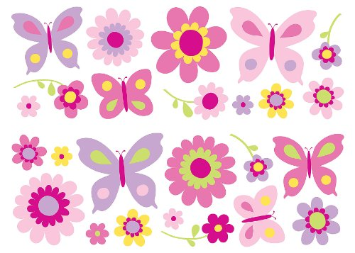 - Fun4Walls SA30149 Flowers and Butterflies Wall Stickers