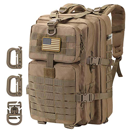 Hannibal Tactical 36L MOLLE Assault Pack, Outdoor Tactical Backpack Military Army Camping Rucksack, 3-Day Pack Trip w/USA Flag Patch, D-Rings, Coyote