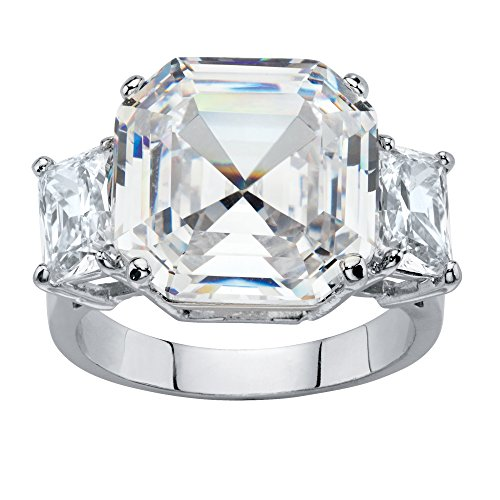 Octagon-Cut White Cubic Zirconia Platinum-Plated 3-Stone Engagement Anniversary Ring Size - Cut Octagon