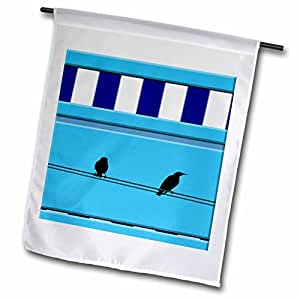 Jos Fauxtographee Realistic - Two Birds on Electrical Wire With Azure Sky Behind and Blue and White Stripes to Add Interest - 12 x 18 inch Garden Flag (fl_49687_1)