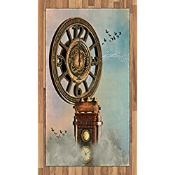Fantasy Area Rug by Lunarable, Magical Enchanted Landscape Big Antique Clock Flying Birds Fairytale, Flat Woven Accent Rug for Living Room Bedroom Dining Room, 2.6 x 5 FT, Pale Blue Brown Pink