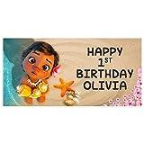 Baby Moana Birthday Banner Personalized Custom Party Backdrop Decoration
