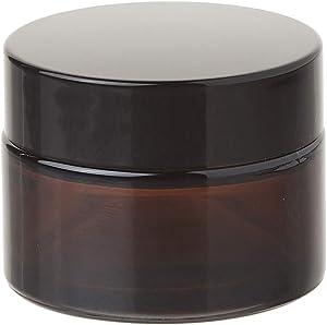 1 oz Amber Glass Jar w/ Black Lid, High End Glass Salve Cream Jars by Premium Vials, (Pack of 12)