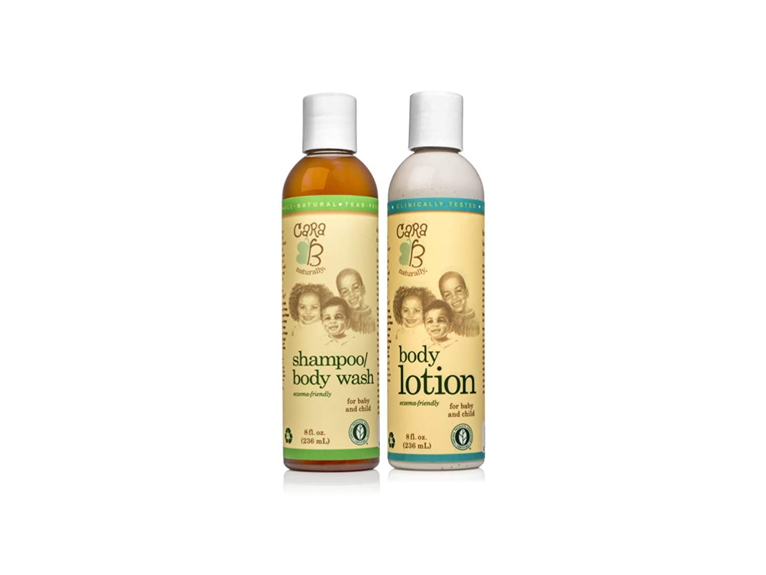 CARA B Naturally Bath Time Bundle - Includes Our Shampoo/Body Wash and Body Lotion – Pack of 2 at 8 Ounces Each