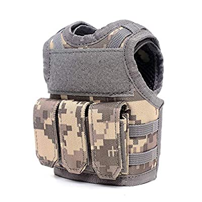lixada Tactical Vest Modular Vest Adjustable Beer Vests Mini Molle Adjustable Beverage Holder Beverage Cooler Can Holder Sleeve Bar Decoration