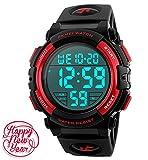 Mens Black Digital Sport Watch - Black Digital Watch Sport Outdoor Silicone Watch with 5 ATM Waterproof, Chronograph, Alarm - Red