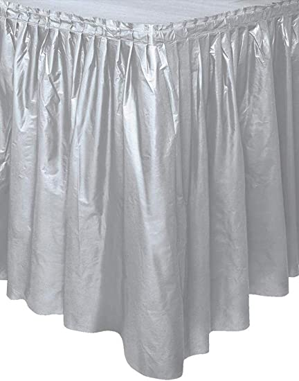 "29/"" X 14ft Ivory Plastic Table Skirt Clothes Stick Party Wedding Dinner White"