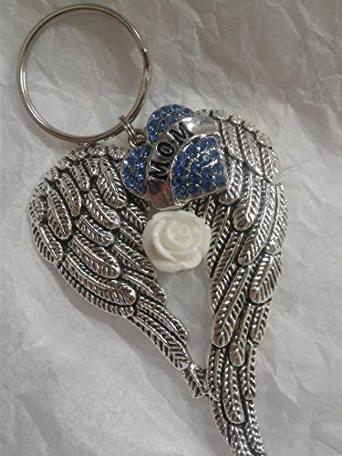Mom Memorial Angel Wings w/Blue Crystal Heart Keychain In Memory Bereavement Keepsake Gift