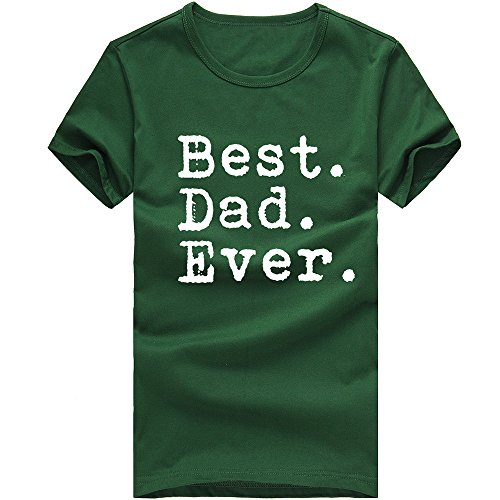 (WUAI Mens Tee Shirt Casual Novelty Letter Printed Short Sleeve Slim Pullover Stylish Classic Shirts Tops(Green,US Size L = Tag XL))