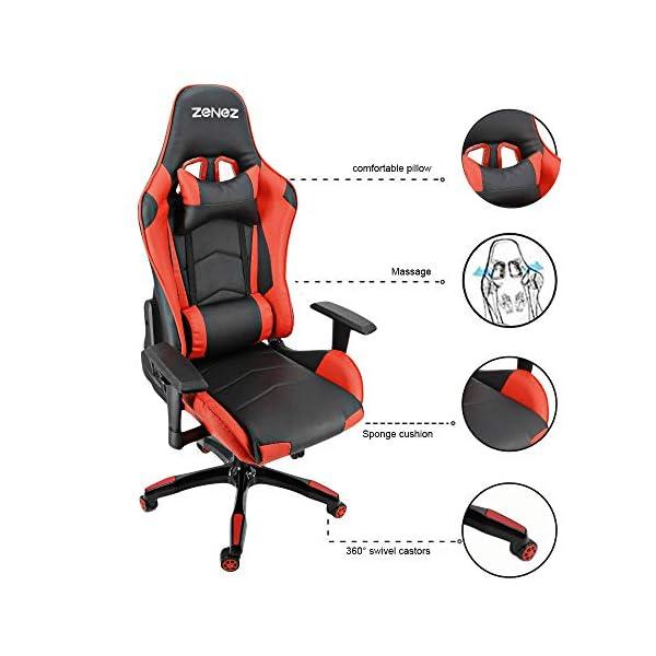 ZENEZ Chaise Gaming Ergonomique pour Chaise de Jeu Ordinateur avec Support Lombaire de Massage, Fauteuil de Style Course…